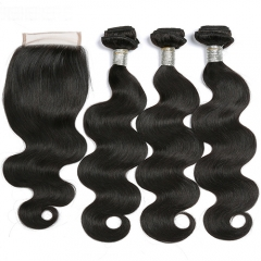 Virgin Hair Weave 3 Bundles With Lace Closure Free Part Body Wave Human Hair Bundles With Closure
