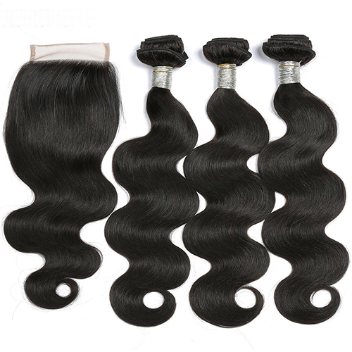 4pcs/Lot Virgin Hair Weave 3 Bundles With Lace Closure Free Part Body Wave Human Hair Bundles With Closure
