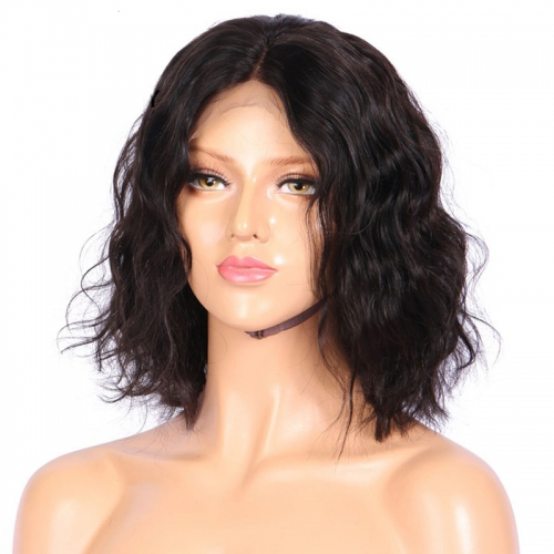 Virgin Human Hair Bob Lace Wig Curly Lace Front Bob Wig With Baby Hair