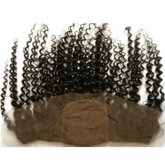 Kinky Curly Silk Lace Frontal 13x4 Virgin Hair Frontal Piece Curly Lace Frontal Closure With Baby Hair