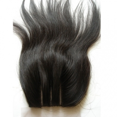 Virgin Hair Straight Closure With Baby Hair 4x4 Silk Base Closures Hidden Knots