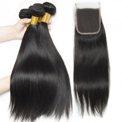 3PCS Straight Hair Bunles With Clousre Virgin Hair Closure With Bundle 4pcs/Lot Hair Bundles With 4x4 Lace Closure