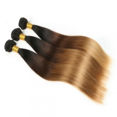 Silk Straight Ombre Hair Bundles Virgin Human Hair 3PCS Lot  1b/4/27 Three Tone Straight Hair Weave