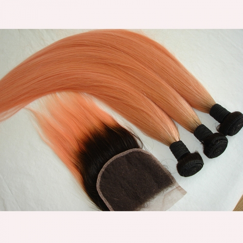 3PCS 1b/Pink Straight Hair Bunles With Clousre Virgin Hair Ombre Lace Closure With Hair Bundles 4PCS Lot Pink Hair