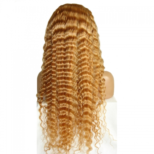 Honey Blonde Deep Wave Full Lace Wig #27 Color Human Hair Wigs With Baby Hair