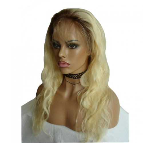 Silk Top Blonde Full Lace Wig Body Wave Virgin Hair Blonde Lace Wigs With Dark Root Pre Plucked Natural Hairline Wigs