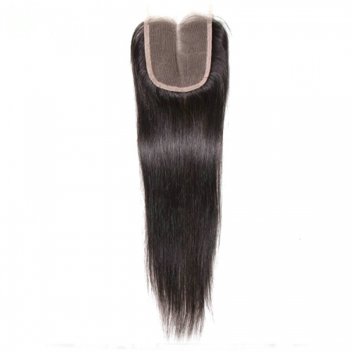 Straight Hair Closure 4x4 Virgin Human Hair Lace Closure Bleached Knots With Baby Hair
