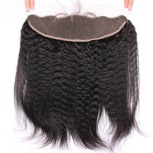Kinky Straight Lace Frontal 13x4 Ear To Ear Pre Plucked Lace Frontal Blaeached Knots