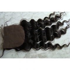 Virgin Hair 5x5 Silk Lace Closure Hidden Knots Loose Curly Silk Base Closure With Baby Hair