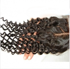 Deep Curly Silk Lace Closure 3.5x4 Virgin Human Hair Silk Base Closure Piece