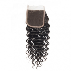 Deep Curly Lace Closure 5x5 Virgin Hair Lace Front Closure With Baby Hair