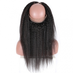 Kinky Straight 360 Lace Band Virgin Human Hair 360 Lace Frontal Pre Plucked Hairline
