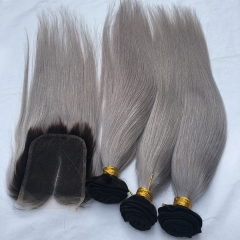 1b/Grey Straight Hair Bunles With Clousre Virgin Hair Ombre Lace Closure With Hair Bundles 4PCS Lot Grey Hair