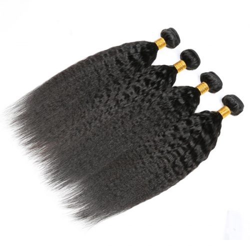 Kinky Straight Hair Virgin Hair Weave Bundles Coarse Yaki 100% Human Hair Bundles Extensions