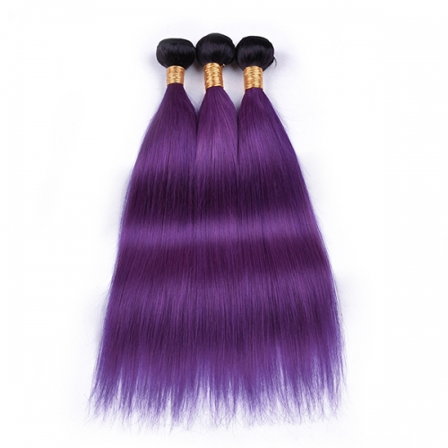 1b/Purple Straight Hair Bundles With Dark Root Virgin Purple Hair Weaveing 3PCS Lot