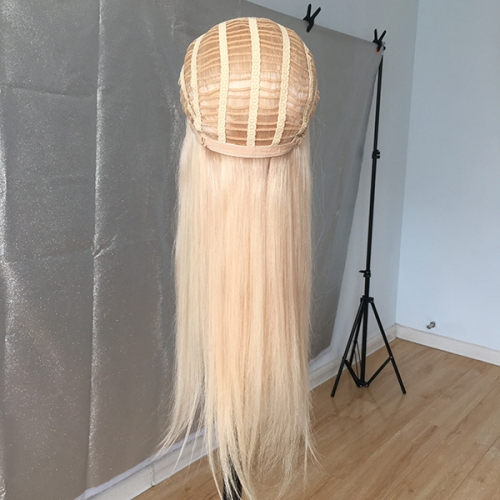 Blonde Half Wig Virgin Human Hair Machine Made None Lace Wig