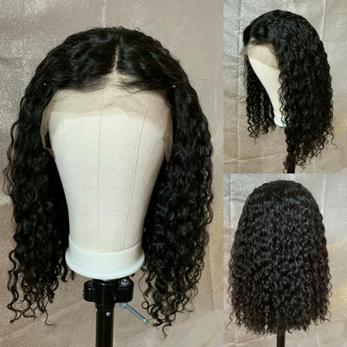 Curly Closure Wig Virgin Human Hair 4x4 Closure Wig Pre Plucked Lace Wig For Black Woman