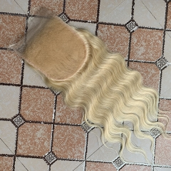 Free Shipping Body Wave Blonde 6x6 Lace Closure Virgin Human Hair #613 Lace Closure With Baby Hair