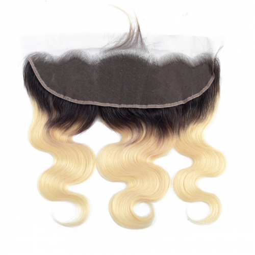 Body Wave Blonde Lace Frontal With Dark Root Virgin Hair Lace Frontal With Baby Hair Blonde Ombre Hair Frontal Piece