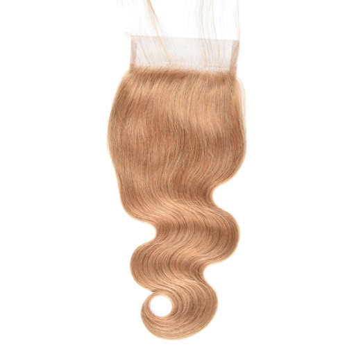 Body Wave Honey Blonde Lace Closure Virgin Human Hair #27 Lace Closure