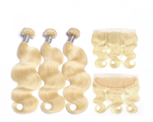 4 Pcs/Lot 613 Blonde Bundles With Frontal Brazilian Body Wave With Frontal Blonde Human Hair Lace Frontal Closure With Bundle