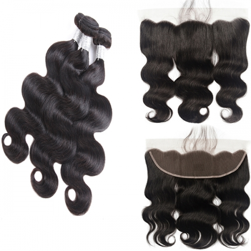 Body Wave 3 Bundles With Frontal Human Hair Weave Bundles 13x4 Lace Frontal With Bundles