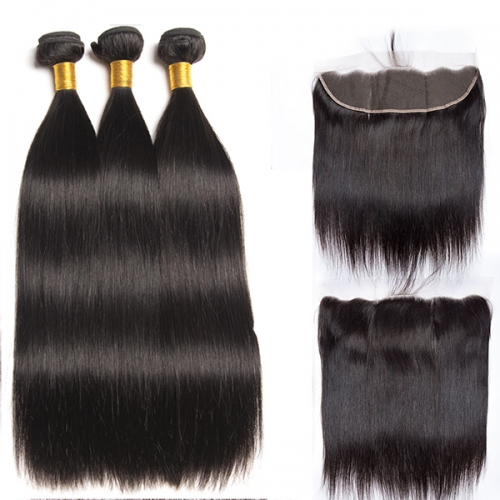 13x4 Ear To Ear Lace Frontal With Bundles Virgin Straight Hair Bundles With Closure Human Hair Bundles With Closure 3Pcs Hair With Lace Frontal