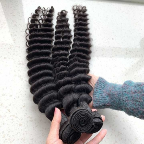 3PCS/Lot Deep Wave Hair Bundles Virgin Human Hair Weave Extension Wavy Hair Weft
