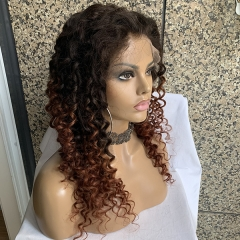 2/33 Ombre Full Lace Wig Deep Curly Human Hair Two Tone Human Hair Wig Pre Plucked Lace Wigs