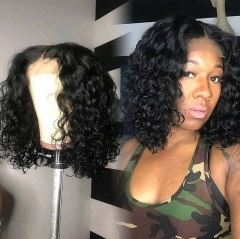 150% Density Curly Bob Wig 13x6 Lace Front Human Hair Wigs Pre Plucked Middle Part Short Human Hair Bob Wig