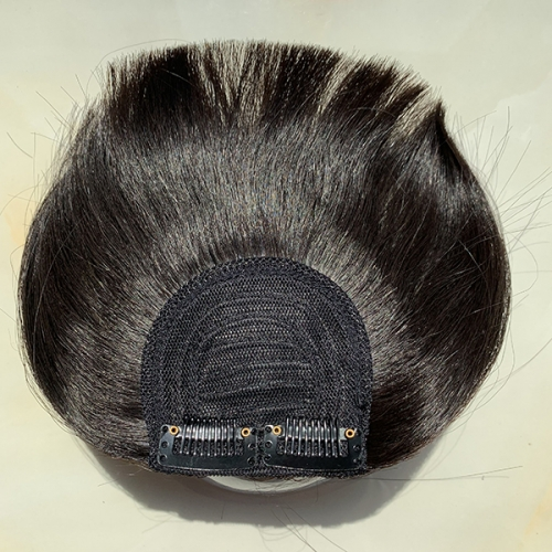 Peruvian Virgin Hair Front 6 Inch Neat Hair Bangs Natural Black Color Clip In Human Hair Extensions 1PC Blunt Bangs