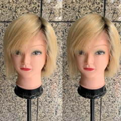 Short Lace Front Wig 150% Density Ombre Blonde Lace wig Virgin Human Hair Blonde Wig With Dark Root