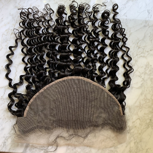 Transparent Lace Frontal Deep Curly 13x6 Lace Frontal With Baby Hair Curly Lace Frontal