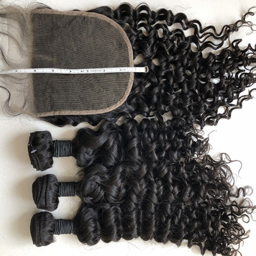 3Pcs Hair Bundles With 1pc Lace Closure Water Wave Hair Bundles With 6x6 Lace Closure 4Pcs Lot