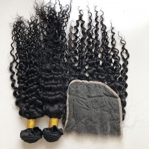 3PCS Lot Jerry Curly Hair Bundles With Lace Clousure 7*7 Virgin Hair Bundles With Closure