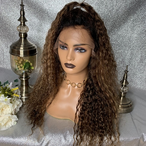 Ombre Highlight Lace Front Wig Virgin Hair Lace Front Wig With Dark Root 150% Density Lace Wigs
