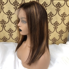 Highlight Lace Front Wig Blunt Cut Bob Wig Peruvian Virgin Hair Bob Wig