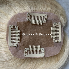 Blonde Hair Topper 6cmx9cm Virgin Human Hair Blonde Silk Base Hair Topper Piece Blonde Women Toupee