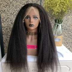 Transparent Lace Kinky Straight 13x6 Lace Wig 150% Density Virgin Human Hair Lace Wigs Pre Plucked With Baby Hair