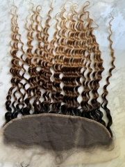 Transparent Lace Lace  Ombre Hair Frontal With Baby Hair Virgin Hair Deep Culry 1b/4/27 Lace Frontal Closure Pre Plucked
