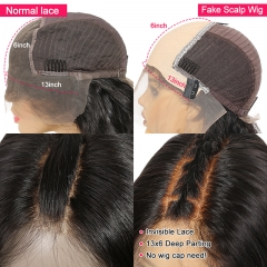 Fake Scalp Cap 13*6 Lace Front Human Hair Wig 150% Density Deep Part Brazilian Hair Wigs With Baby Hair