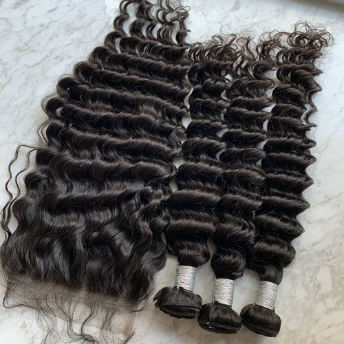 3Pcs Deep Wave Hair Bundles With Lace Closure 6x6 Brazilian Deep Wave Hair With Lace Closure 4pcs/Lot