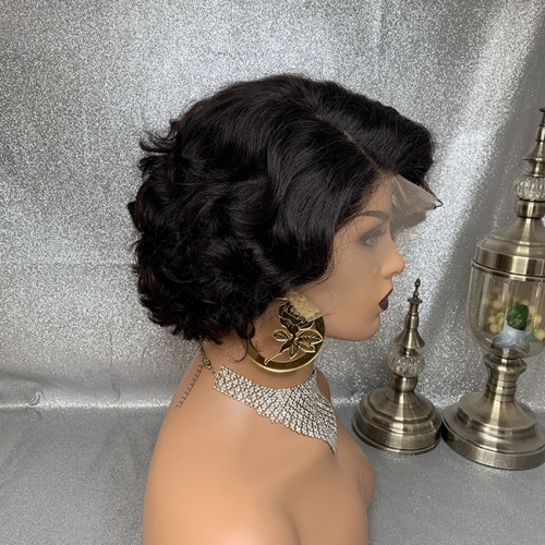 Pixie Cut Hairstyle  Lace Frofal Wig Curly Lace Wig Virgin Human Hair Lace Wigs For Women Pixie Wig Short Bob Wig