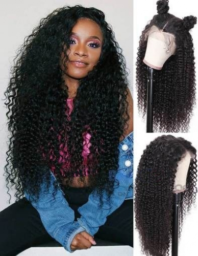 Deep Wave Transparent Lace 360 Lace Wig Pre Plucked Human Hair 360 Wig Natural Hairline Transparent Lace Wigs