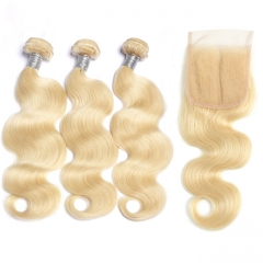 Charming Hair 613 Virgin Human Hair  Blonde Bundles With 5x5 Closure Body Wave Hair With Lace Closure 4pcs/Lot  Blonde Hair With Closures