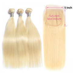 Blonde Hair With Closure Straight Virgin 613 Hair With Lace Closure 4PCS Lot  3pcs Hair Bundles With 5*5 Lace Closure