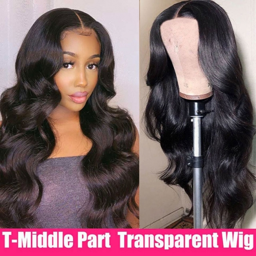 Body Wave Cheap Lace Front Wig Ttransparent Lace T Part Wig  Human Hair Wigs For Women  T Part Lace Wig Pre Plucked