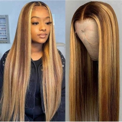 Highlight T Part Wig #4/27 Highlight Colored T Part Human Hair Wigs Pre Plucked Ombre Straight Lace Front Human Hair Wigs For Black Women