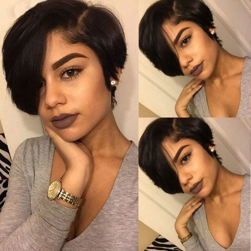 Straight Pixie Wig Pixe Cut Hairstyle 13x6 Lace Wig Brazilian Human Hair Lace Wigs Pixie Wig Short Bob Wig