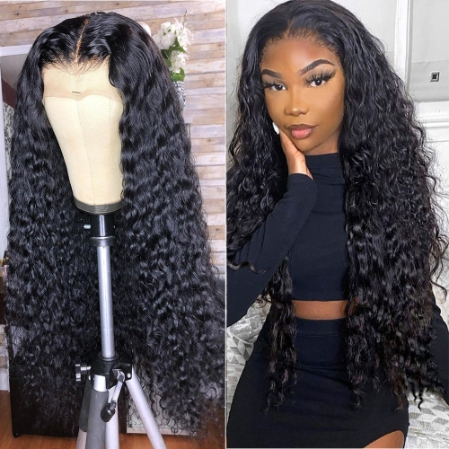 Deep Wave 13x6 Lace Front Wig Pre Plucked Virgin Human Hair Lace Wig